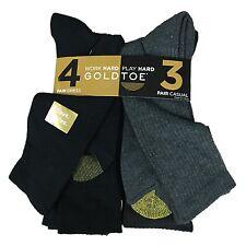 $60 GOLD TOE Mens 7 PAIR PACK Casual Dress CREW SOCKS Black Gray Sport SHOE 6-12
