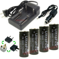 New 4X26650 7200mAh li-ion Rechargeable Battery For LED Flashlight Torch+Charger