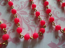 """Opaque Hot Pink 4mm Fire Polished Glass Beads Brass Linked Bead Chain - Qty 18"""""""