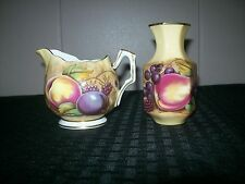 John Aynsley Orchard Gold Mini Creamer and Bud Vase Fine Bone China England