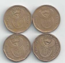 4 DIFFERENT 20 CENT COINS from SOUTH AFRICA (20007, 2008, 2009 & 2010)..