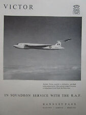 9/1958 PUB HANDLEY PAGE VICTOR RAF ROYAL AIR FORCE V BOMBER ORIGINAL AD