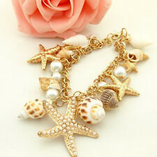 Ocean Multi Starfish Sea Beach Star Conch Shell Pearl Chain Fashion Bracelet 1