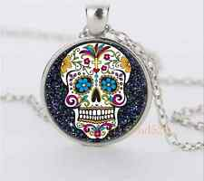 Black sugar skull Glass Dome Pendant Silver Necklace for man woman Jewelry