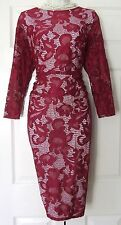 COAST CORALLA LACE DARK RED EVENING PARTY DRESS SIZE 18 BNWT
