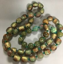Stunning Glass Foiled Bead Necklace. Greens, Golds, Copper Hues.