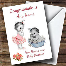 Cute Pink Baby Boy Brother You're A Big Sister Personalised Sibling Card