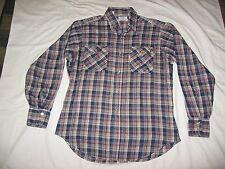Vintage Levi's Men's Black Red White Plaid Button Up Long Sleeve Shirt Size L