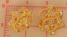 2 solid metal rhinestone shank buttons gold coiled chain design 36mm 1 3/8""