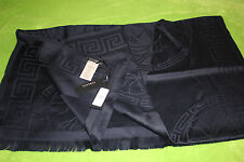 Versace Authentic Blue Wool Scarf Medusa Logo Luxury Shawl Wrap 72x30 inches