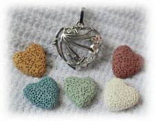 Filigree Heart Essential Oil Aromatherapy Diffuser Necklace with 5 lava stones!