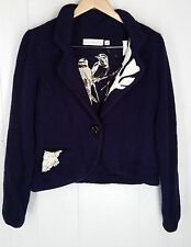 Charlie & Robin purple white one button Sweater womens size L