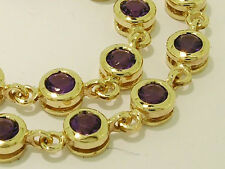 Genuine 9ct Yellow Gold NATURAL Purple Amethyst Line Tennis Bracelet 18cm