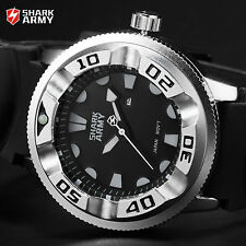 Men's Black Dial SHARK ARMY Silver Steel Military Silicone Sport Quartz Watch