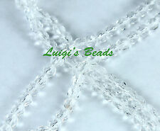 50 Crystal Clear Czech Firepolished Faceted Beads 4mm
