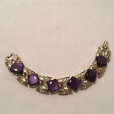 VINTAGE *CORO* ROYAL PURPLE MOONGLOW LUCITE/THERMOSET LINK BRACELET!