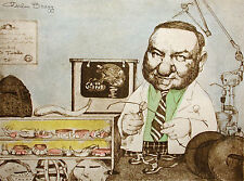 "Charles Bragg ""Orthodontist"" Signed Hand Colored Art Print of free ship cont USA"