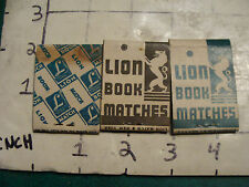 vintage Matches 1930's or 40's: 3 LION MATCH CO. 1 unused