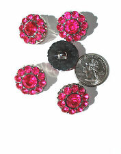 Hot Pink Rhinestone Buttons Acrylic 22mm Shank Back with Faceted Centers