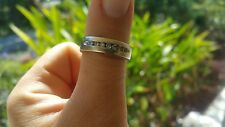 14K Solid White Gold with Diamonds Men Mens Wedding Band Ring Sz 10  9.1 Grams