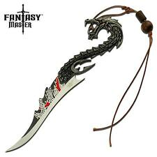 "Fantasy Master Dragon 8"" Fixed Blade Knife with Wooden Stand Collectors Edition"