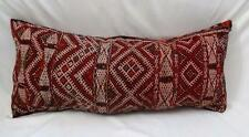 "Beautiful Moroccan Berber Kilim Pillow Cushion Lumbar Red Multi Vintage 30""X12"""