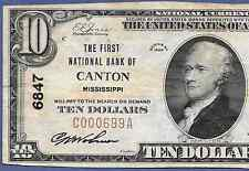 MS  1929  $10   ♚♚ CANTON, MISSISSIPPI ♚♚  HARD TO FIND