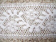 """NEW 2 Yds Elegant Vintage 4"""" Wide White Leaf Vine Floral Motif Lace Trim"""