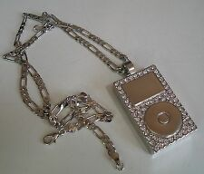 Silver Finish Hip Hop  CZ Bling DJ Pendant with complementary Chain