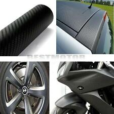 3D Gloss Black Carbon Fiber Vinyl Wrap Film Car Stickera LONG Roll For BMW AUDI