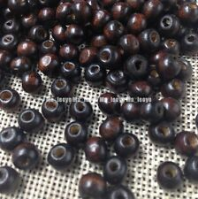 600pcs Dark brown Round Rondelle Wood Spacer loose Beads charms making 6mm