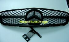 C63 LOOK BLACK LEATHER SOFT COATING GRILLE FOR 2007-2014 MERCEDES W204 C-CLASS