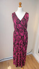 BNWT Hot Pink/Black GEORGE Maxi Stretch Dress Wrap Chest Elast'd Waist Size 8