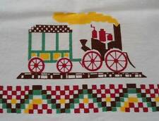 """Vintage Printed Cotton Tablecloth Red Train Horse Buggy Turkeys Unused 34"""""""