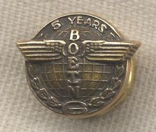 1950s Boeing 5 Years of Service Pin in 10K Gold
