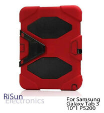 "Red Shock Proof Heavy Duty Tough cover case for Samsung Galaxy Tab 3 10""1"