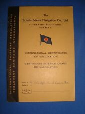 Old Vintage Scindia Steam Navigation Co. Vaccination Card from India 1962