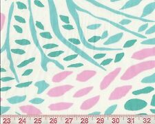 P Kaufmann Pink Green Colorful Print Upholstery Fabric Toadstool Peacock BTY