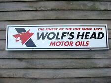 WOLF'S HEAD OIL C.1970's VINTAGE STYLE 1'X4' METAL DEALER SIGN-GARAGE ART