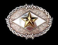 Western Jewelry Engraved Raised Gold Star Shilo Buckle