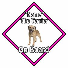 Personalised Dog On Board Car Safety Sign – Border Terrier On Board Pink