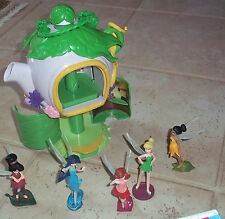 DISNEY FAIRIES Tinker Bell set of 5 pvc & Pixie Hollow Hidden Tree House Teapot