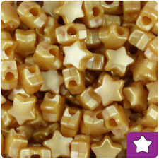 250 Gold Pearl 13mm Star Pony Beads Plastic Made in the USA