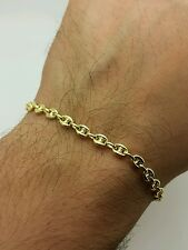 "14k Yellow Gold Puffed Mariner Anchor Bracelet Chain 6"" 4.7mm Women"