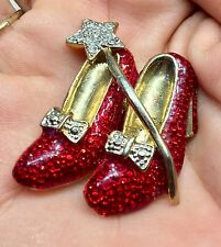 """WIZARD OF OZ DOROTHY WAND RUBY RED SHOES SHOE SLIPPER SLIPPERS PIN BROOCH 2"""""""