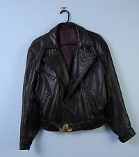 Mens Vintage Genuine Leather Biker Jacket w/ Harley Davidson Buckle Black Medium