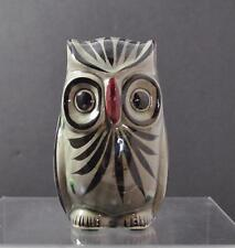 "Vintage Ceramic Owl Bird Handpainted Figurine Signed About 6"" R8"