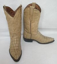 Men's Cuatralba Beige Leather Crocodile Print Cowboys Boots Sz 6.5 M