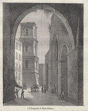 1837 Il campanile di Santa Chiara Napoli litografia