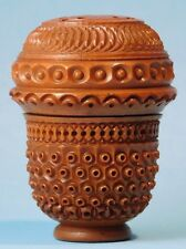 Antique Sewing Acorn Shape Thimble Holder Case Carved Pierced Vegetable Ivory